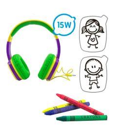 Headphone-Infantil-com-Cards-e-Giz-de-Cera---Toon---Roxo-e-Verde---OEX-Kids