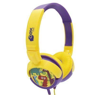 Headphone-Infantil---Dino---Amarelo-e-Roxo---OEX-Kids