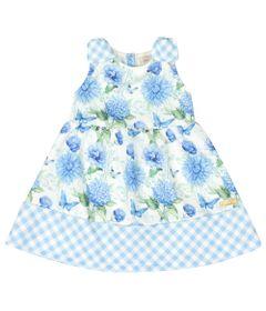Vestido-Infantil-Floral---Sem-Manga---Xadrez-Azul---Livy-Malhas---1