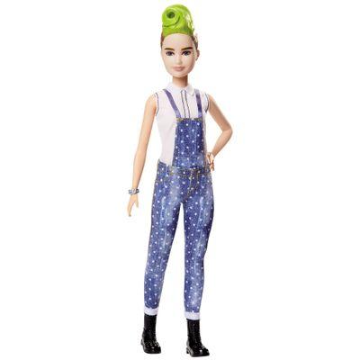 Boneca-Barbie-Fashionista---Jardineira-azul-e-Cabelo-Verde---Mattel
