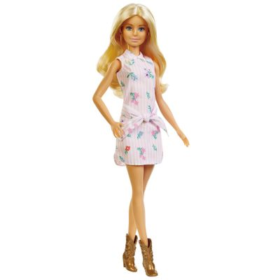 Boneca-Barbie-Fashionista---Loira---Vestido-Rosa-com-Flor---Mattel
