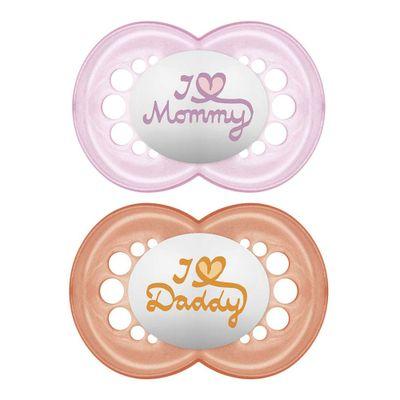 chupeta-de-silicone-mommy---daddy-laranja-e-rosa-6M-MAM-2934_Frente
