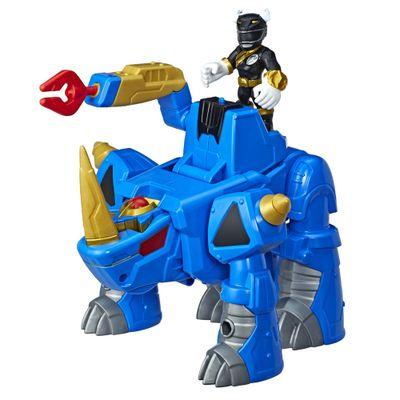 Figura-com-Luzes-e-Sons---25Cm---Power-Rangers---Power-Morph---Black-Ranger-e-Rhino-Zord---Hasbro