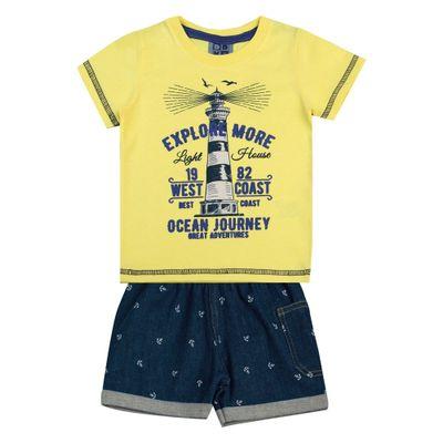 Conjunto-Infantil---Camisa-Explore-e-Bermuda-Jeans---Algodao-e-Elastano---Amarelo---Duduka---1