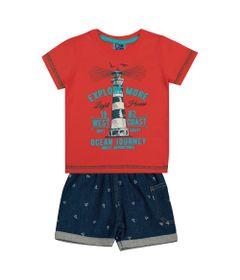 Conjunto-Infantil---Camisa-Explore-e-Bermuda-Jeans---Algodao-e-Elastano---Laranja---Duduka---1