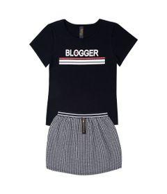 Conjunto-Infantil---Camisa-Manga-Curta-Blogger-e-Saia---Algodao-e-Elastano---Preto---Duduka---4