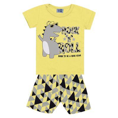 Conjunto-Infantil---Camisa-Manga-Curta-Dino-e-Bermuda---Algodao-e-Poliester---Amarelo---Duduka---P