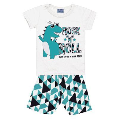 Conjunto-Infantil---Camisa-Manga-Curta-Dino-e-Bermuda---Algodao-e-Poliester---Branco---Duduka---P