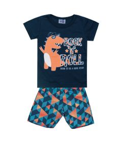Conjunto-Infantil---Camisa-Manga-Curta-Dino-e-Bermuda---Algodao-e-Poliester---Marinho---Duduka---P