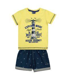 Conjunto-Infantil---Camisa-Manga-Curta-Farol-e-Bermuda---Algodao-e-Elastano---Amarelo---Duduka---P