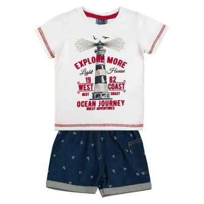 Conjunto-Infantil---Camisa-Manga-Curta-Farol-e-Bermuda---Algodao-e-Elastano---Branco---Duduka---P