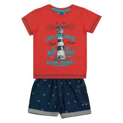 Conjunto-Infantil---Camisa-Manga-Curta-Farol-e-Bermuda---Algodao-e-Elastano---Laranja---Duduka---P