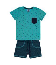 Conjunto-Infantil---Camisa-Manga-Curta-Folha-e-Bermuda---Algodao-e-Poliester---Azul---Duduka---1