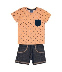 Conjunto-Infantil---Camisa-Manga-Curta-Folha-e-Bermuda---Algodao-e-Poliester---Laranja---Duduka---1