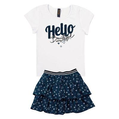 Conjunto-Infantil---Camisa-Manga-Curta-Hello-e-Saia---Algodao-e-Elastano---Branco---Duduka---4