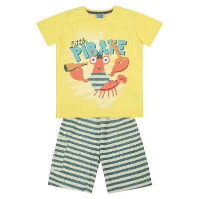 Conjunto-Infantil---Camisa-Manga-Curta-Lagosta-e-Bermuda---Algodao-e-Poliester---Amarelo---Duduka---1