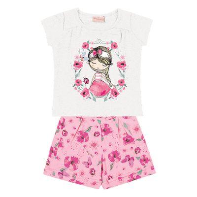 Conjunto-Infantil---Camisa-Manga-Curta-Menina-e-Bermuda---Algodao-e-Elastano---Branco---Duduka---1