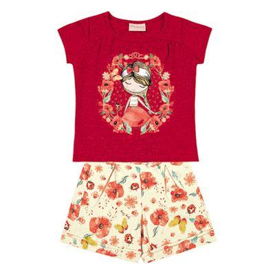 Conjunto-Infantil---Camisa-Manga-Curta-Menina-e-Bermuda---Algodao-e-Elastano---Vermelho---Duduka---1