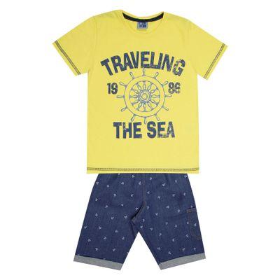 Conjunto-Infantil---Camisa-Traveling-e-Bermuda-Jeans---Algodao-e-Elastano---Amarelo---Duduka---10