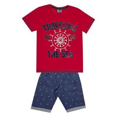 Conjunto-Infantil---Camisa-Traveling-e-Bermuda-Jeans---Algodao-e-Elastano---Vermelho---Duduka---4