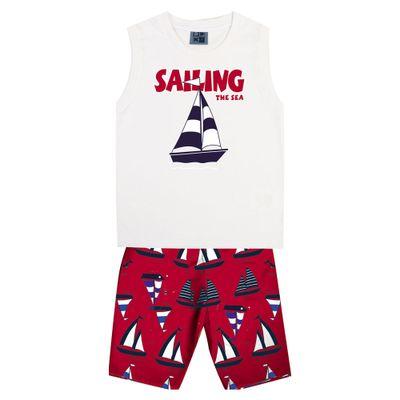 Conjunto-Infantil---Camiseta-Regata-Barco-e-Bermuda---Algodao-e-Poliester---Branco---Duduka---1