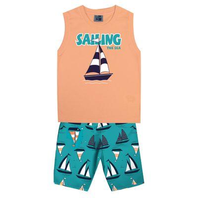 Conjunto-Infantil---Camiseta-Regata-Barco-e-Bermuda---Algodao-e-Poliester---Laranja---Duduka---1