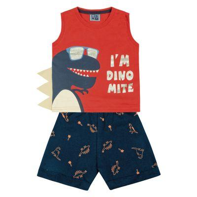 Conjunto-Infantil---Camiseta-Regata-Dino-e-Bermuda---100--Algodao---Laranja---Duduka---P