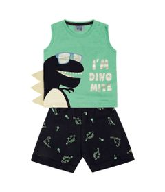 Conjunto-Infantil---Camiseta-Regata-Dino-e-Bermuda---100--Algodao---Verde---Duduka---1