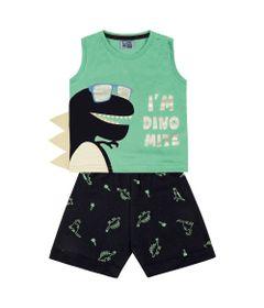 Conjunto-Infantil---Camiseta-Regata-Dino-e-Bermuda---100--Algodao---Verde---Duduka---P