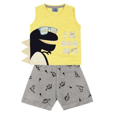 Conjunto-Infantil---Camiseta-Regata-Dino-e-Bermuda---Algodao-e-Poliester---Amarelo---Duduka---1