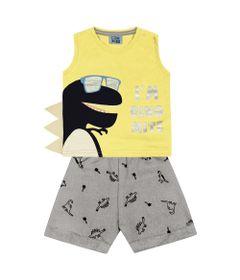 Conjunto-Infantil---Camiseta-Regata-Dino-e-Bermuda---Algodao-e-Poliester---Amarelo---Duduka---P