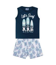 Conjunto-Infantil---Camiseta-Regata-Dog-Surf-e-Bermuda---Algodao-e-Poliester---Marinho---Duduka---P