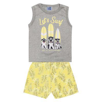 Conjunto-Infantil---Camiseta-Regata-Dog-Surf-e-Bermuda---Algodao-e-Poliester---Mescla---Duduka---P