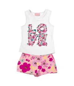 Conjunto-Infantil---Camiseta-Regata-Love-e-Bermuda---Algodao-e-Elastano---Branco---Duduka---1