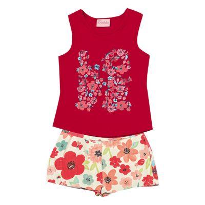 Conjunto-Infantil---Camiseta-Regata-Love-e-Bermuda---Algodao-e-Elastano---Vermelho---Duduka---1