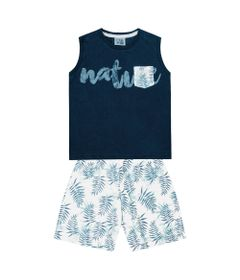 Conjunto-Infantil---Camiseta-Regata-Natureza-e-Bermuda---Algodao-e-Poliester---Marinho---Duduka---1