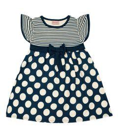Vestido-Infantil---Manga-Curta-com-Poas---Algodao-e-Elastano---Marinho---Duduka---1