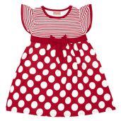 Vestido-Infantil---Manga-Curta-com-Poas---Algodao-e-Elastano---Vermelho---Duduka---1