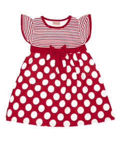 Vestido-Infantil---Manga-Curta-com-Poas---Algodao-e-Elastano---Vermelho---Duduka---2