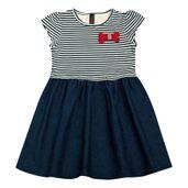 Vestido-Infantil---Manga-Curta---Listra-com-Lacinho---Algodao-e-Elastano---Marinho---Duduka---1