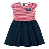Vestido-Infantil---Manga-Curta---Listra-com-Lacinho---Algodao-e-Elastano---Vermelho---Duduka---1