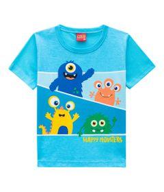 Camiseta-Masculina---Meia-Malha---Monstrinhos---Turquesa---Kyly---P