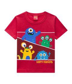 Camiseta-Masculina---Meia-Malha---Monstrinhos---Vermelho---Kyly---P