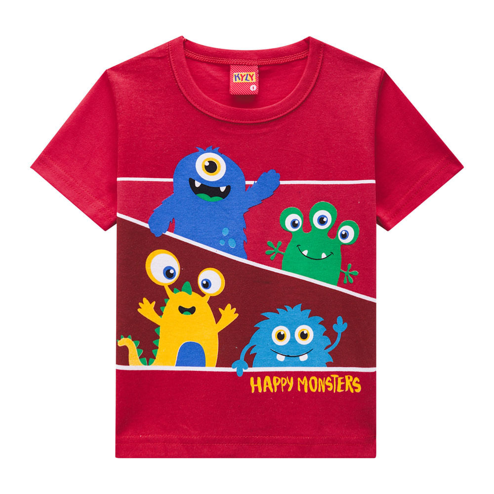 Camiseta Masculina - Meia Malha - Monstrinhos - Vermelho - Kyly