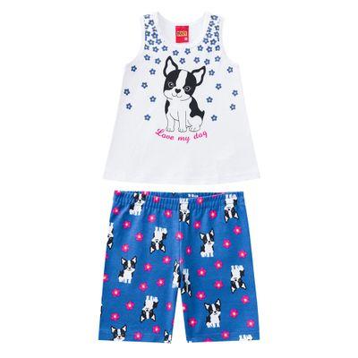 Conjunto-Infantil---Blusa-e-Short---Meia-Malha---Cachorrinho---Branco---Kyly---1