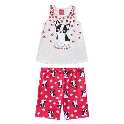 Conjunto-Infantil---Blusa-e-Short---Meia-Malha---Cachorrinho---Mescla---Kyly---1