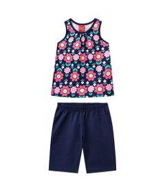 Conjunto-Infantil---Blusa-e-Short---Meia-Malha---Flores---Azul-Marinho---Kyly---1