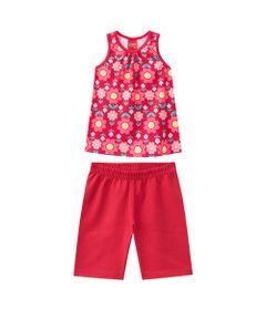 Conjunto-Infantil---Blusa-e-Short---Meia-Malha---Flores---Vermelho---Kyly---1