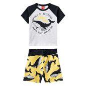 Conjunto-Infantil---Camiseta-e-Bermuda---100--Algodao---Baleia---Preto---Kyly---1