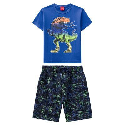 Conjunto-Infantil---Camiseta-e-Bermuda---100--Algodao---Dinossauro---Azul---Kyly---1